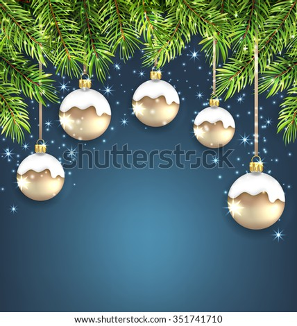 Illustration Christmas Background with Fir Twigs and Glass Balls, Holiday Wallpaper - raster - stock photo