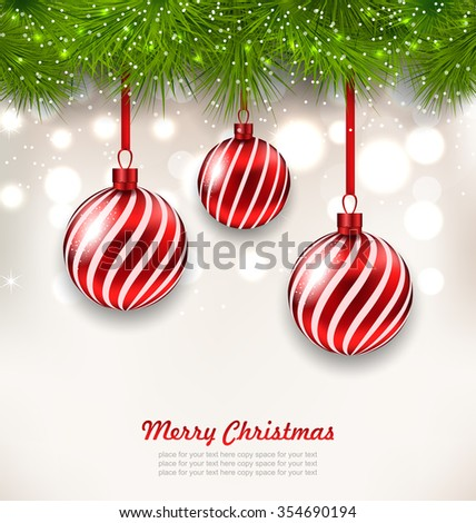 Illustration Christmas Background with Glass Hanging Balls and Fir Twigs - raster - stock photo
