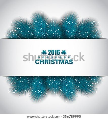 Illustration Christmas Border with Blue Fir Branches - raster - stock photo