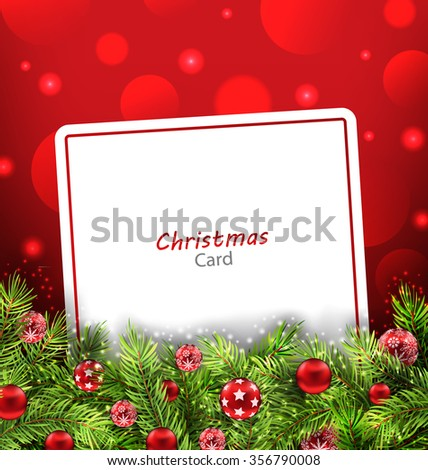 Illustration Christmas Card with Fir Twigs and Glass Balls, Holiday Background - raster - stock photo