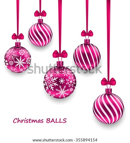 Illustration Christmas Card with Pink Glassy Balls with Bow Ribbon, Isolated on White Background - raster - stock photo