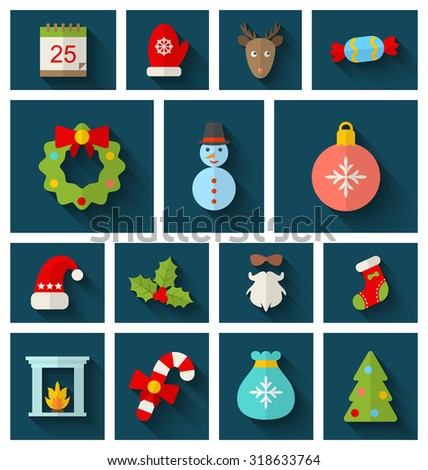 Illustration Christmas Colorful Objects and Elements with Long Shadows - raster - stock photo