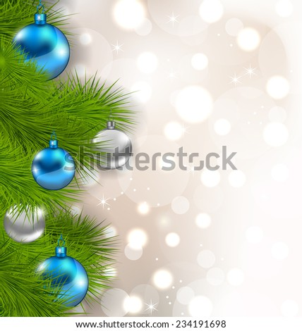 Illustration Christmas composition with fir branches and glass balls