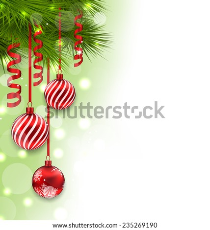 Illustration Christmas fir branches and glass balls, copy space for your text - raster - stock photo