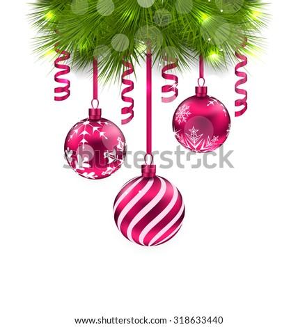 Illustration Christmas Fir Branches and Glass Balls - raster - stock photo