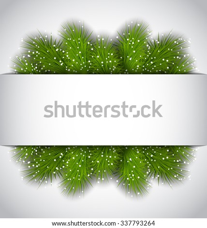 Illustration Christmas frame with green fir twigs with copy space for your text - raster - stock photo
