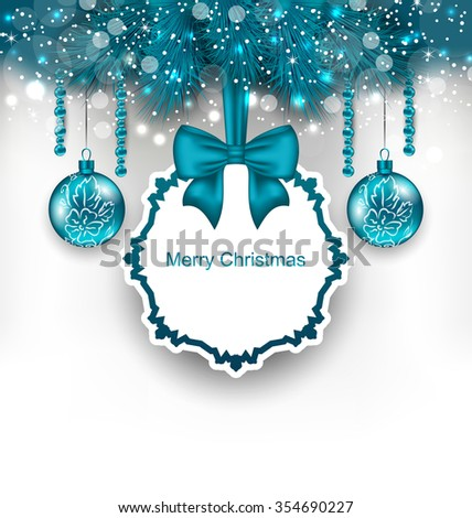 Illustration Christmas gift card with glass balls - raster