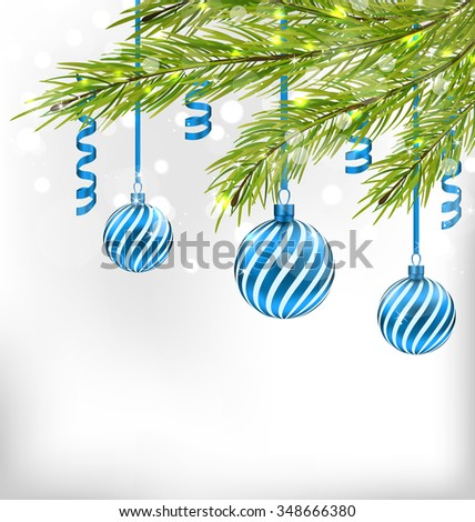 Illustration Christmas Glitter Card with Fir Branches and Glass Balls, Streamer - raster - stock photo