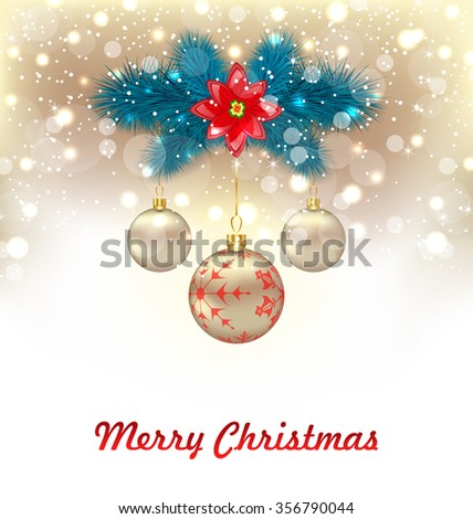 Illustration Christmas Glowing Background with Fir Branches, Glass Balls and Flower Poinsettia - raster - stock photo