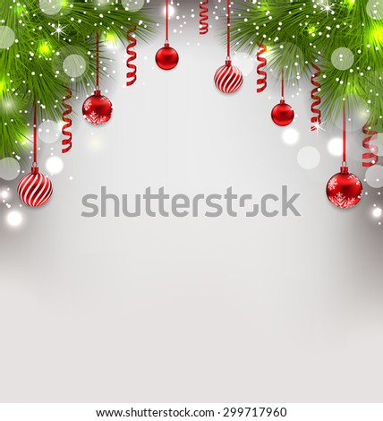 Illustration Christmas glowing background with fir branches, glass balls, streamer - raster - stock photo