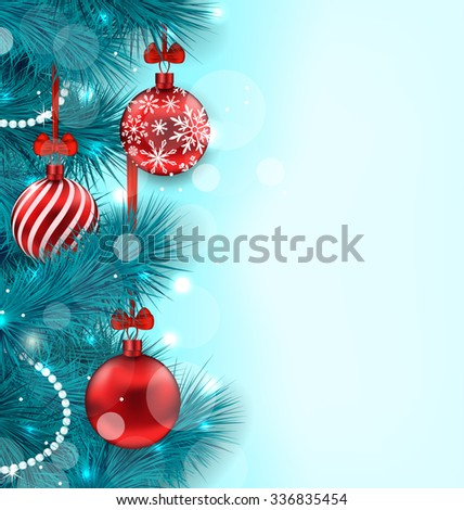 Illustration Christmas Lighten Background with Blue Fir Twigs and Red Glass Balls, Copy Space for Your Text - raster - stock photo