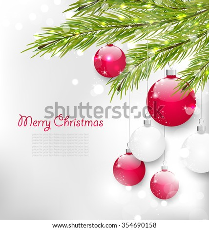 Illustration Christmas Lighten Card with Fir Branches and Glass Balls - raster - stock photo