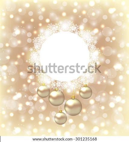 Illustration Christmas round frame made in snowflakes and golden balls on beige glowing background - raster - stock photo