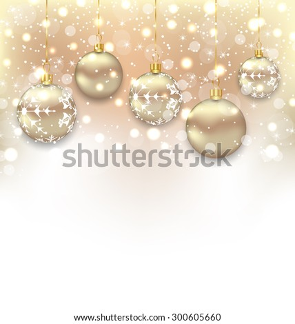 Illustration Christmas shimmering background with balls and copy space for your text - raster - stock photo
