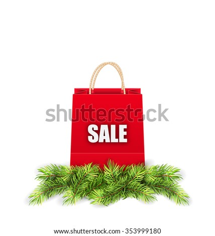 Illustration Christmas Shopping Sale Bag with Fir Branches - raster - stock photo
