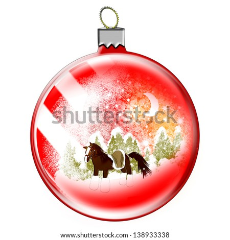 Illustration. Christmas toy ball and winter landscape. Horse.