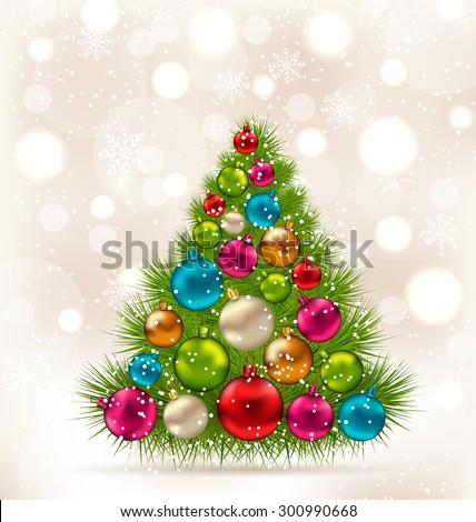 Illustration Christmas tree and colorful balls on light background - raster - stock photo