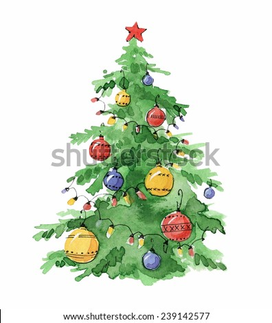 Watercolor Christmas Tree Stock Images, Royalty-Free Images ...