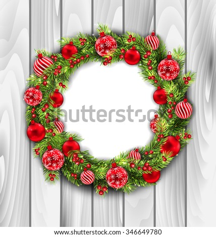 Illustration Christmas Wreath with Balls, New Year and Christmas Decoration, on Wooden  Background - raster - stock photo