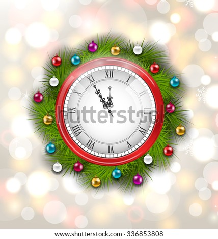 Illustration Christmas Wreath with Clock, New Year Decoration on Magic Background - raster - stock photo