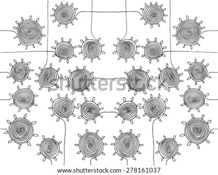 illustration circle spirals flowers simple drawing pattern B