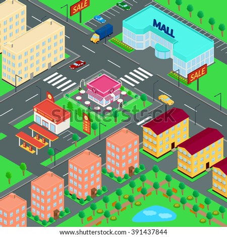 illustration. City. Mall, houses, cafes, petrol station, truck, car, Parking, Park. isometric