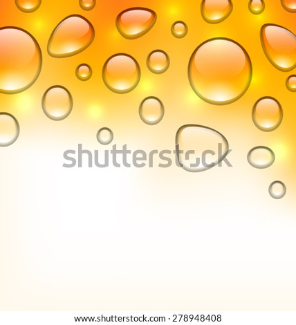 Illustration clean water droplets on orange surface, copy space for your text - raster - stock photo