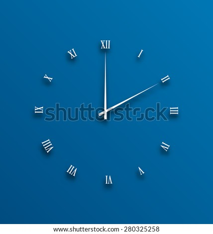 Illustration clock dial, numeral with shadows - raster - stock photo