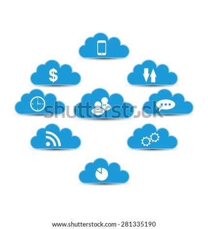 Illustration cloud computing and technology, infographic design elements - raster  - stock photo
