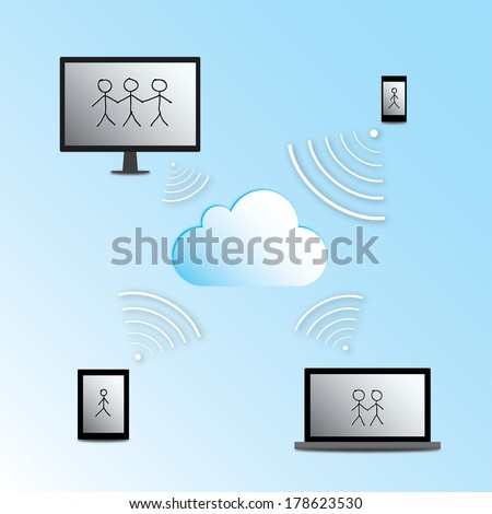 Illustration - cloud computing concept with desktop computer, laptop, tablet and cellphone
