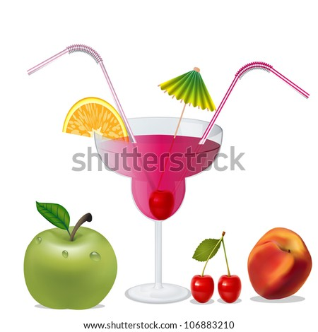 illustration cocktail with cherry by peach and apple - stock photo