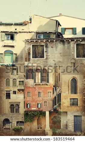 Illustration collage of details of many building facades mixed together that transforms in a different building - stock photo