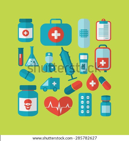Illustration collection trendy flat medical icons - raster