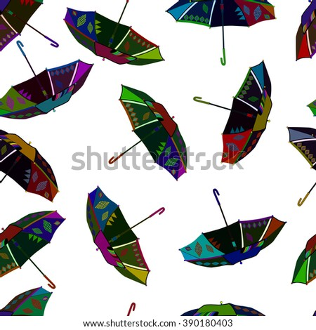 illustration colorful fly, soaring umbrellas background.
