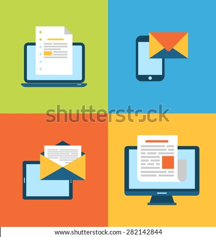 Illustration concept of email marketing via electronic gadgets - newsletter and subscription, flat trendy icons - raster - stock photo