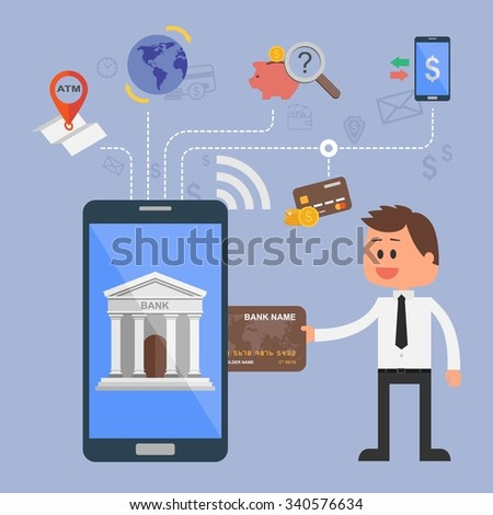 Illustration concept of internet banking. Flat style design. Icons for online payments, mobile payments, credit cards, wire transfers and bank money savings. - stock photo