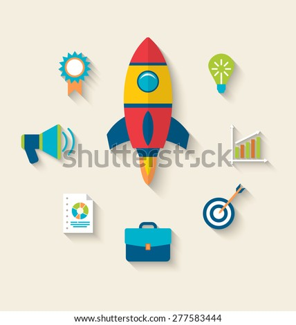 Illustration concept of launch a new innovation product on a market, flat icons with long shadows style - raster - stock photo