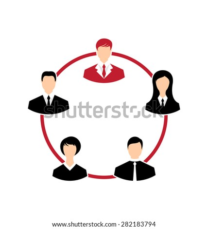 Illustration concept of leadership, community business people - raster - stock photo