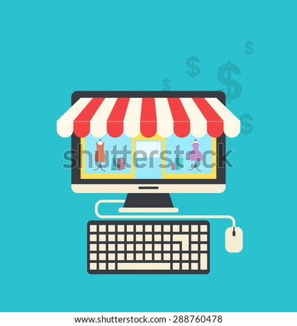 Illustration concept of online shop, flat icons of computer, keyboard and mouse - raster - stock photo