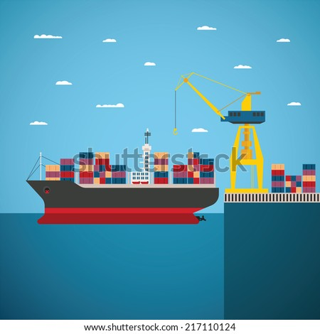 Illustration concept of river ocean and sea freight shipping by water - stock photo