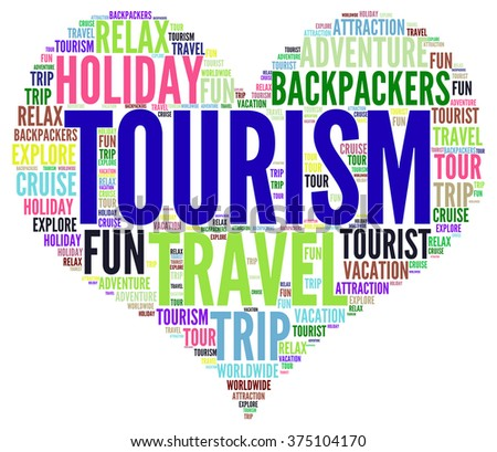 Illustration concept or conceptual of travel or tourism text word cloud tagcloud isolated on white background. - stock photo