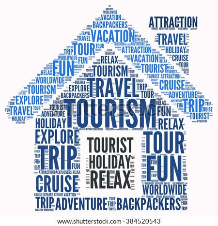 Illustration concept or conceptual of travel or tourism text word cloud tagcloud isolated on white background.