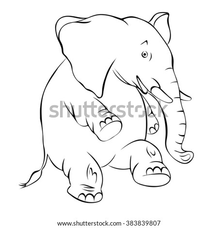 Illustration, contour of a cheerful elephant. The elephant costs on a hind leg and smiles drawn with a contour