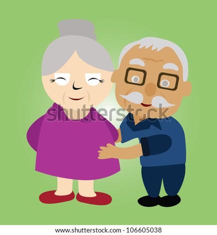 Illustration - Couple older.He hug his wife. - stock photo