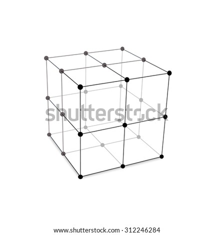 Illustration Cube Made is Mesh Polygonal Element Connected Lines and Dots - raster