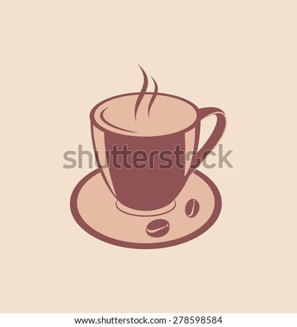 Illustration Cup of Aromatic Coffee and Beans on Saucer, Vintage Style - raster - stock photo