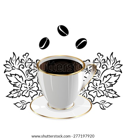 Illustration cup of coffee isolated with floral design elements and coffee beans - raster - stock photo