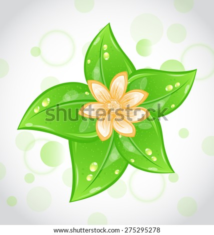 Illustration cute eco background with green leaves and flower - raster - stock photo