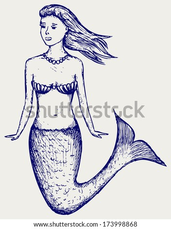 Illustration cute mermaid. Doodle style. Raster version - stock photo
