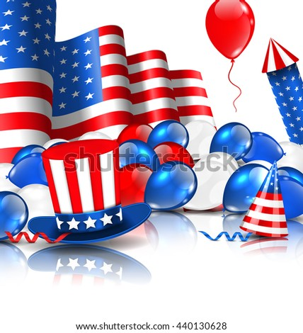 Illustration Cute Wallpaper in National American Colors with Balloons, Party Hats, Firework Rocket, Flag and Confetti - raster